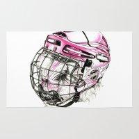 hockey Area & Throw Rugs featuring Hockey mandrill  by Detullio Pasquale