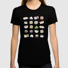 Happy kawaii sushi pattern Womens Fitted Tee Black SMALL