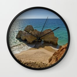 Praia da Rocha rock formation, Portugal Wall Clock