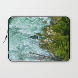 Here Be Bears - Black Bear and Wilderness River Laptop Sleeve