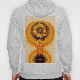 Sunflower totem, rainbow, retro, mid century, orange, abtsract Hoody