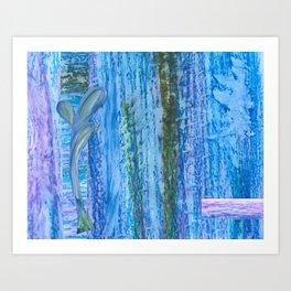 Purple Blue Leaf Art Print