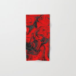 Black & Red Marble I Hand & Bath Towel