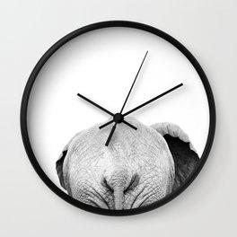 Elephant Back Photo   Black and White Wall Clock