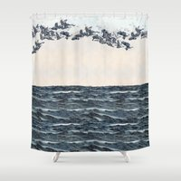 men Shower Curtains featuring Old men should be explorers by anipani