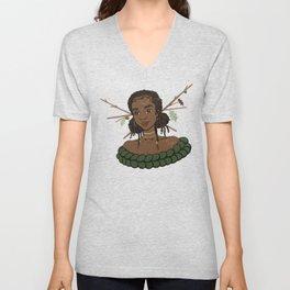 Autumn Oak Goddess • Black Girl Magic in Fall Colors Unisex V-Neck