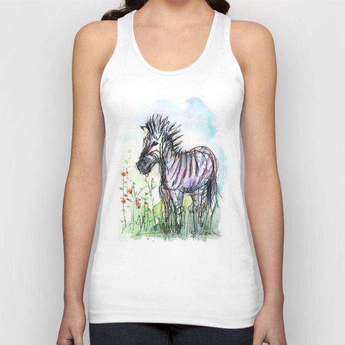 Zebra Whimsical Animal Art Unisex Tank Top