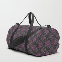 Folk Flower, Vintage Bohemian Pattern, Pink Green Black Duffle Bag