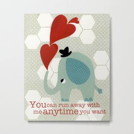 Heart Elephant Metal Print