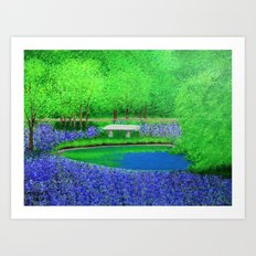 Stone bench by the pond Art Print