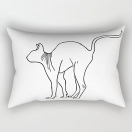 Sphynx Cat Arching Its Back - Naked Cat -  Simple Line - Minimal Rectangular Pillow