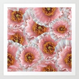 White pink poppies Art Print