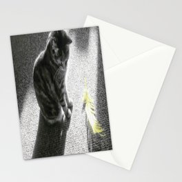 Little cat and Feather Stationery Cards