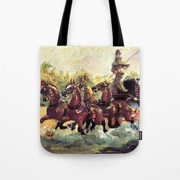 """Henri de Toulouse-Lautrec """"Count Alphonse de Toulouse Lautrec driving a four horse hitch"""" Tote Bag"""