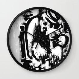 Saint With Bird - b&w Wall Clock