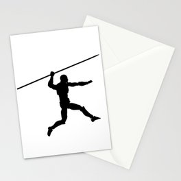 Silhouette of a running man with a spear Stationery Cards