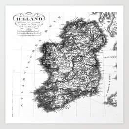 Vintage Black and White Ireland MAp Kunstdrucke