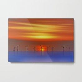 Wind Farms at Sunset (Digital Art) Metal Print