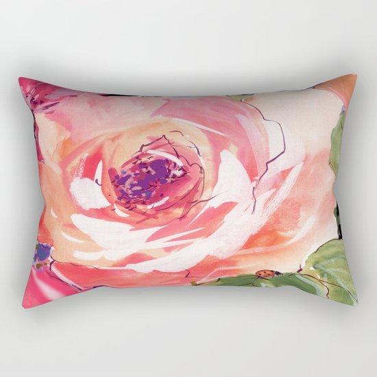 The Rose floral  Rectangular Pillow