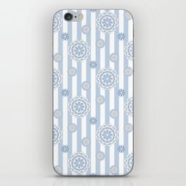 Mod Flowers on Stripes in Pastel Blue and Gray iPhone Skin