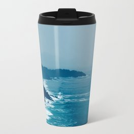 Under A Misty Grey Sky The Blue Waves Meets The Jagged Cliff On The Sore Travel Mug