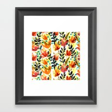 Warm Wildflowers Pattern Framed Art Print