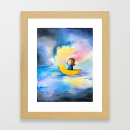 A girl in a boat, sea, cosmos, space, stars, duck, dreamer Framed Art Print