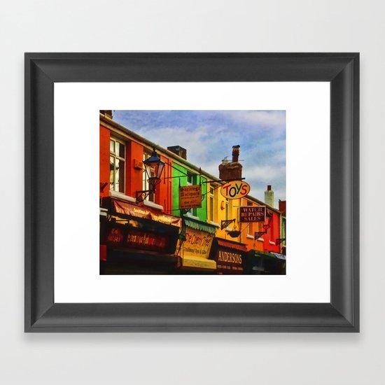 Rainbow of shops Framed Art Print