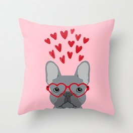 French Bulldog love valentines day heart glasses frenchie gifts Throw Pillow