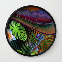 Island Wave by Kenny Rego Wall Clock