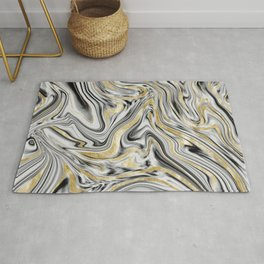 Gray Black White Gold Marble #1 #decor #art #society6 Rug