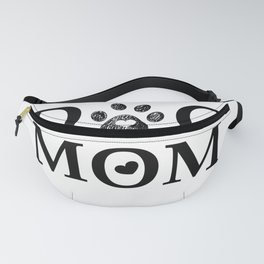 Black paw print with hearts. Dog mom text. Happy Mother's day Fanny Pack