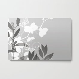 Pantone Pewter Gray Botanicals and Butterflies Graphic Design Metal Print
