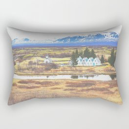 White building, wide golden field, and snow mountain Rectangular Pillow