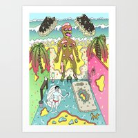 holiday Art Prints featuring holiday by james clapham