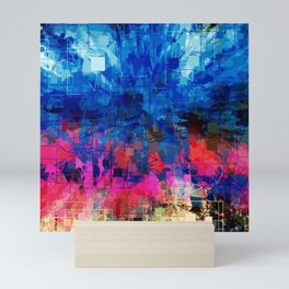 Bright Blues and Pinks Pattern Abstract Mini Art Print