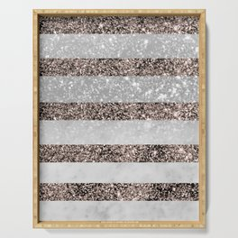White Marble Rose Gold Glitter Stripe Glam #2 #minimal #decor #art #society6 Serving Tray