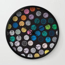 Polka Dots Sketch Colorful Pattern Wall Clock