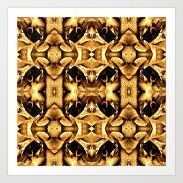 Gold Brown Fantasy Pattern Art Print
