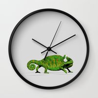 chameleon Wall Clocks featuring Chameleon by Badamg