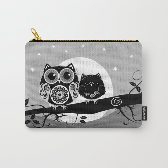 B&W Flower power Owl and her Sleepy Baby Carry-All Pouch