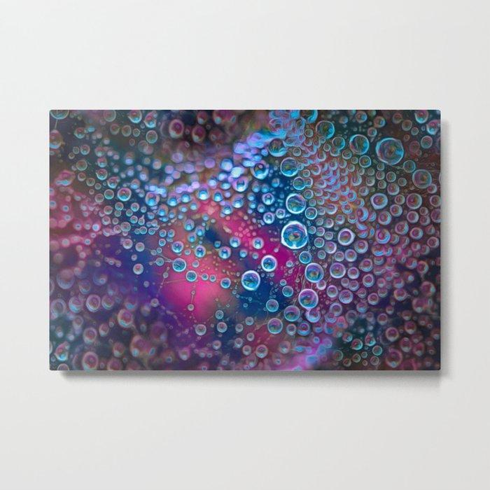 Magic iridescent colorful dew drops Metal Print