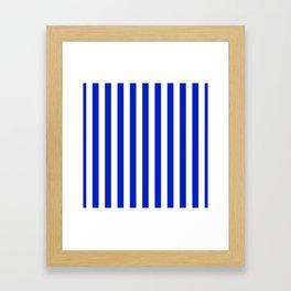 Cobalt Blue and White Vertical Beach Hut Stripe Framed Art Print