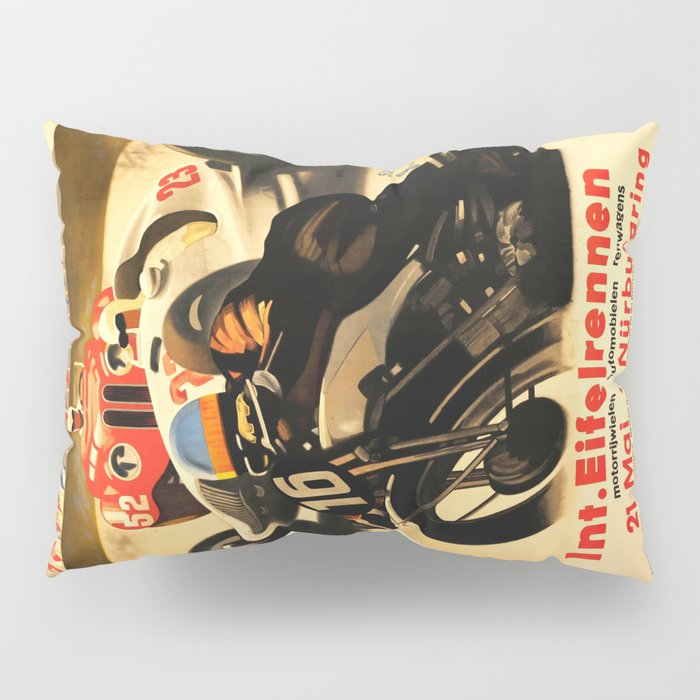 Nurburgring Race, vintage poster Pillow Sham