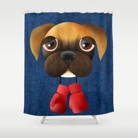 boxer Shower Curtains featuring Boxer by Sloe Illustrations