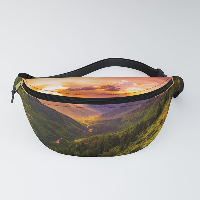 Beautiful Sunset Mountains Valley Landscape Fanny Pack