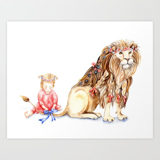 Girl with Her Lion Art Print
