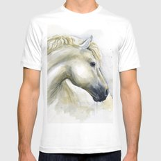 White Horse Watercolor Painting Animal Horses Mens Fitted Tee White MEDIUM
