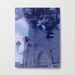 Mandalic Swirls Church More Blue Metal Print