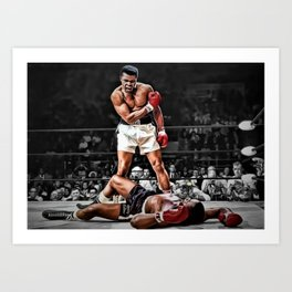 Mama Said I'm Gonna Knock You Out - Ali Knocks out Liston B&W over Color Painting Art Print